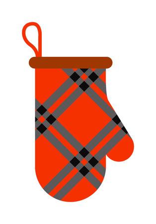 pot holder: Pot mitten holder home safety kitchen cooking cotton thermal textile flat mitten vector illustration. Safety potholder mitten and kitchen pot mitten holder. Mitten pot holder chef equipment cookery kitchenware.