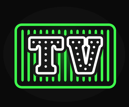 tv show: Light bulb vector neon TV show logo with creative retro effect letters. Show logo design template and studio movie show logo. Neon lighting show logo art entertainment. Retro business abstract cinema. Illustration