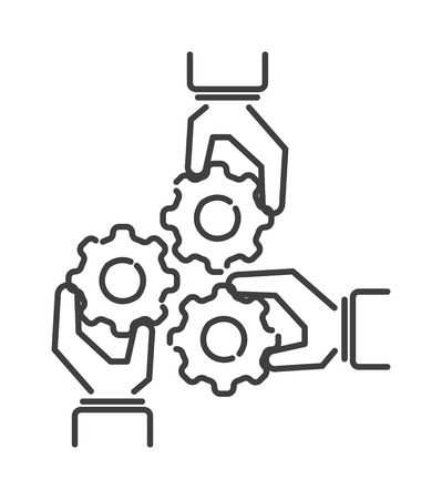 teambuilding: Teamwork business people teambuilding icon group communication concept line symbol outline vector. Teambuilding icon group communication and teambuilding icon cooperation success teambuilding strategy Illustration