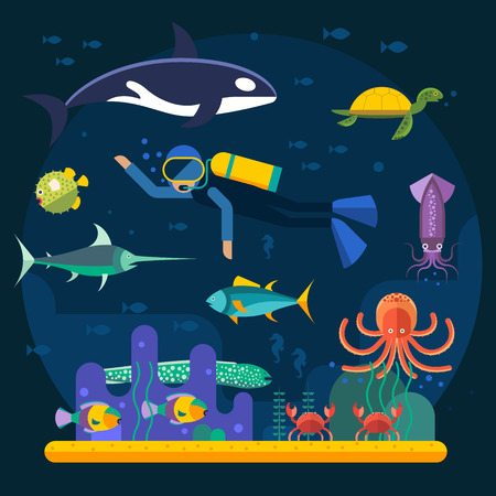 diving: Underwater background with various water plant and swimming tropical fish and diver. Underwater background with fish. Underwater background coral garden with glossy water surface colorful fish Illustration
