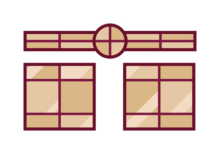 sill: Different types house windows vector elements isolated on white background. Windows elements flat vector style. Vector windows frames. Windows icons on white, Window frame vector isolated