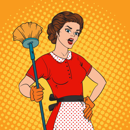 retro housewife: Pop Art woman comic style housewife woman. Cleaning war housewife girl vector illustration. Pop art style housewife girl strong girl. Domestic, kitchen, cleaning service housewife woman Illustration