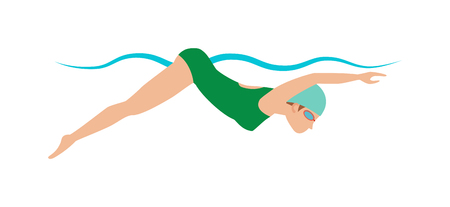 butterfly stroke: Sport pool swimmer and swimmer young girl. Swimmer race action professional person training. Dynamic and fit swimmer woman in cap breathing performing butterfly stroke pool sport vector illustration.