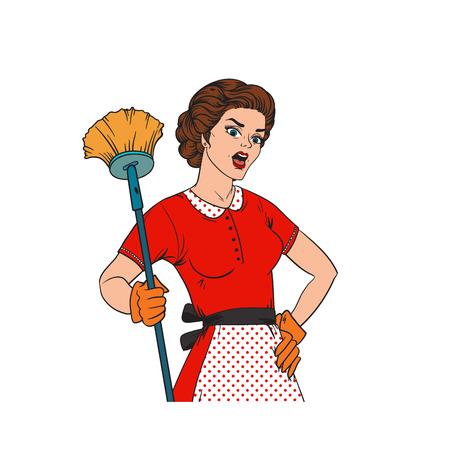 casalinga: Pop Art donna stile comico casalinga donna. Pulizia casalinga guerra illustrazione vettoriale ragazza. Pop art style casalinga ragazza ragazza forte. Domestico, cucina, servizio di pulizia casalinga donna Vettoriali