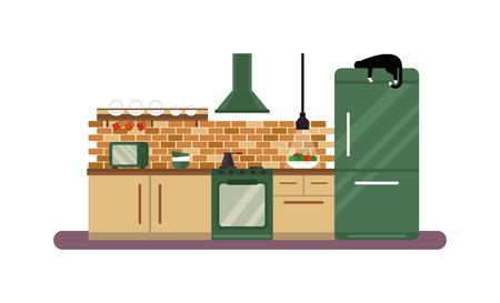 kitchen furniture: Kitchen room design and home architecture luxury apartment kitchen design. Kitchen design apartment decor. Horizontal view of modern furniture luxury kitchen design interior flat vector illustration.