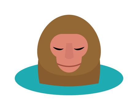 primate: Monkey head and nature zoo monkey head. Primate design monkey head, cute portrait art graphic monkey head animal face. Vector illustration of monkey head cartoon style wild mammal chimpanzee. Illustration