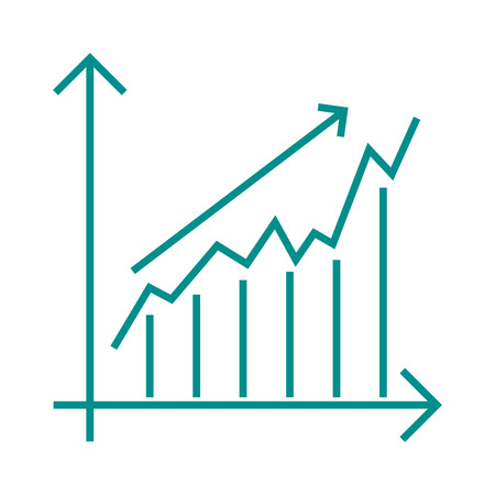 growth chart: Vector growing chart graph icon business arrow progress diagram. Growth chart business arrow and financial market growth chart. Diagram success profit finance growth chart statistic bar concept. Illustration
