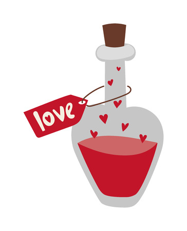 desirability: Cartoon love potion icon heart shaped with letter label and magic love potion. Love potion in glass bottle. Romantic love potion in heart shaped glass flask retro letter label flat cartoon vector. Illustration