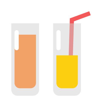 orange juice glass: Glass of orange juice fresh drink beverage healthy flat isolated vector illustration. Glass of juice pineapple and multi fruit and citrus sweet juice glass. Citrus juice sweet freshness liquid.