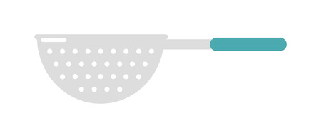 stainless steel kitchen: Empty silver colander kitchenware and colander with blue handle. Colander kitchenware steel household accessory. Stainless steel colander utensil kitchen equipment flat vector illustration.