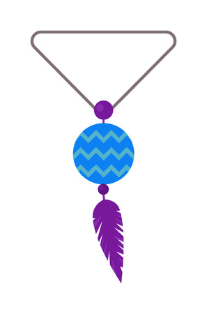 amulet: Vector illustration of tribal pendant amulet with feathers and moonstone. Pendant amulet blue colour stone with feathers boho style. Pendant amulet feathers charm symbol jewelry traditional necklace.