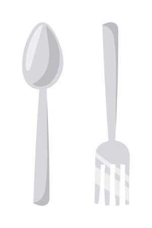 flatware: Silverware cutlery dinner dishware and kitchen cutlery silver tool. Cutlery equipment flatware dining tool. Cutlery set with fork, knife and spoon table restaurant silverware flat vector illustration. Illustration