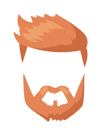 black head and moustache: Fashion mustache and hipster retro mustache. Vintage fashion hairstyle mustache, silhouette whisker cartoon mustache. Hipster fashion man hair and beards mustache character vector illustration.