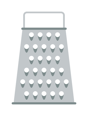 stainless steel kitchen: Cooking stainless kitchen grater and steel food cut kitchen grater. Kitchen metallic grater blade grate accessory. Cheese kitchen grater metal handle utensil equipment flat vector illustration.