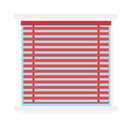 jalousie: Window jalousie shutter background curtain blinds interior flat vector illustration. Jalousie louvers design and red jalousie curtain sign. Office horizontal jalousie striped shape geometric blind. Illustration