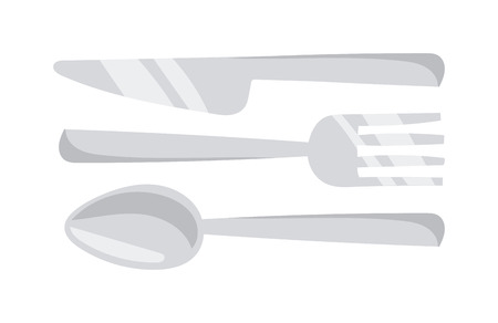 Silverware cutlery dinner dishware and kitchen cutlery silver tool. Cutlery equipment flatware dining tool. Cutlery set with fork, knife and spoon table restaurant silverware flat vector illustration. Illustration