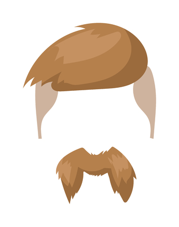 whisker: Fashion mustache and hipster retro mustache. Vintage fashion hairstyle mustache, silhouette whisker cartoon mustache. Hipster fashion man hair and beards mustache character vector illustration.