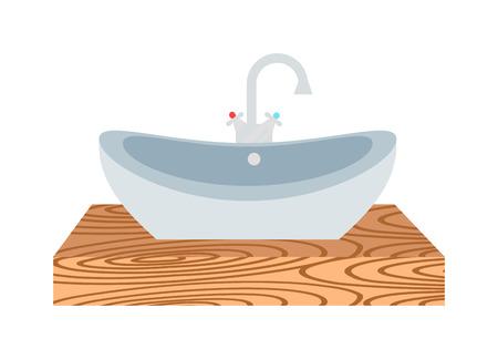 washbasin: Washbasin domestic ceramic object and wash basin for washing hands vector. Washbasin bathroom cartoon flat vector illustration. Bath metal tool