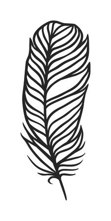 Hand getekend gestileerde veer zwarte kleur en doodle tribal sier zwarte veer. Veer geïsoleerde pictogram. Zwart veertje natuurvogel symbool. Het rustieke uitstekende zwarte art. Van de veerkrabbel