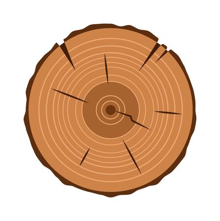 sectie Boomstam kruis natuurlijk gekapt hout slice cirkel hout ring plat vector. Hout slice natuurlijke plantaardige cirkel en hout slice patroon stomp. Ruwe oude materiaal hout slice textuur. Vector Illustratie