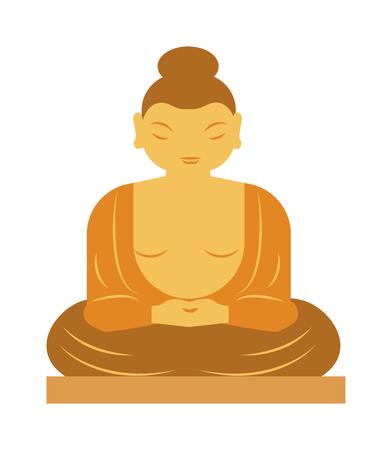 buddhist meditation: Buddha statue bangkok thailand religion statue asia buddhist meditation art flat vector illustration. Buddha statue and buddha spiritual face. Thailand religion statue asia sculpture symbol. Illustration
