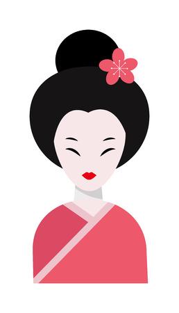 folkart: Japanese woman folk-art maiden cute kokeshi beautiful asian character vector. Japan beautiful asian woman and traditional japan woman. Japan women kimono female cute charming art people dressed geisha Illustration