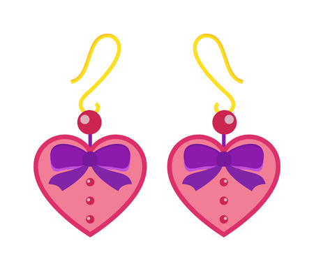 earrings: Hearts earrings beautiful pink accessory isolated. Love elegant earrings on background. Luxury emerald earrings decoration. Glamour vector earrings isolated Illustration