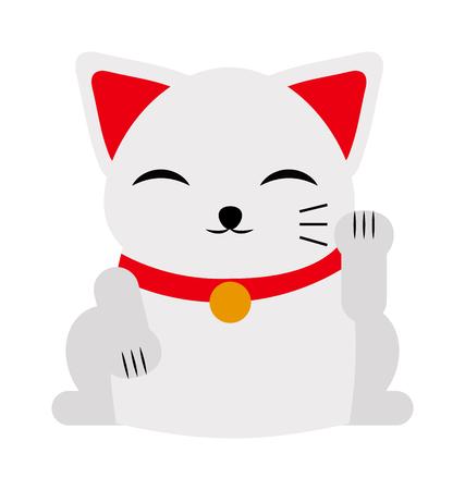 maneki: Japanese maneki neko lucky cat fortune symbol success kitty toy cartoon vector illustration. Maneki neko lucky cat and cute lucky cat toy. Cute cat cartoon Japanese maneki neko toy luck and prosperity