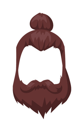 hair mask: Hairstyles beard and hair face cut mask flat cartoon collection. Vector mail beard hair illustration. Flat hair and beards fashion style. Hairstyle set, haircut icons. Mans face beard and mustache Illustration