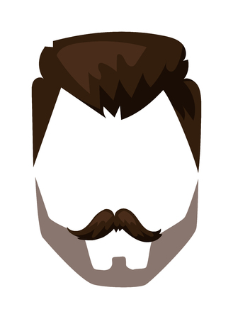 style goatee: Hairstyles beard and hair face cut mask flat cartoon collection. Vector mail beard hair illustration. Flat hair and beards fashion style. Hairstyle set, haircut icons. Mans face beard and mustache Illustration