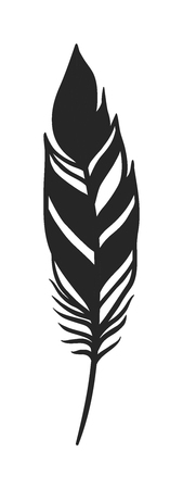 black feather: Hand drawn stylized boho feather black color and doodle tribal ornamental black feather. Feather isolated icon. Black feather nature bird. Decorative black feather doodle vintage art graphic vector.