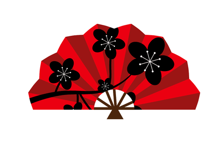 chinese fan: Red silk chinese fan traditional asian oriental culture paper accessory vector illustration. Traditional chinese fan and oriental chinese fan. Red chinese paper elegance fan fashion accessory.