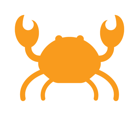 crawling creature: Cartoon crab silhouette funny vector illustration. Red crab isolated on white background vector. Flat red crab marine seafood character.