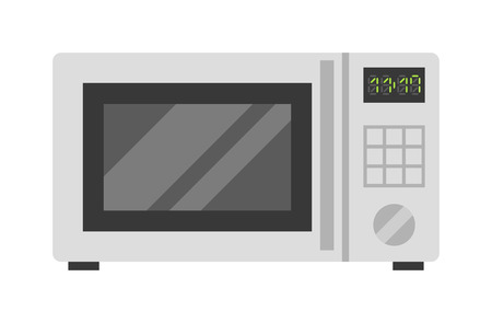microwave oven: Microwave oven technology appliance equipment modern flat vector illustration. Kitchen domestic prepare hot food electric microwave and electrical cooking microwave. Microwave steel appliance design.