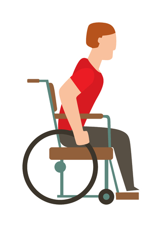 medical equipment: Man in wheelchair invalid disabled help chair vector flat illustration. Disabled invalid chair and medical invalid chair transportation. Human invalid chair handicap equipment assistance transport.
