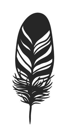 black feather: Hand drawn stylized feather black color and doodle tribal ornamental black feather. Feather isolated icon. Black feather nature bird symbol. Rustic decorative black feather doodle vintage art Illustration