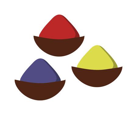 Indyjskie przyprawy przyprawy w małym stali drewniane kule wektor. Thai suszone zioła i przyprawy przyprawy i kuchnia składnik przyprawy przyprawy. Chili w proszku zioła przyprawowe przyprawy przyprawa gotowanie.
