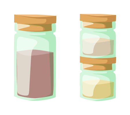 curry: Jar with cooking spices and ingredients, pepper, garlic, paprika, curry vector illustration. Powder spices in glass jars and cooking powder spices in glass jars. Aromatic culinary powder spices.