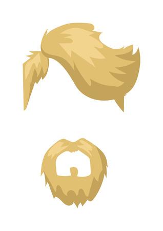Hairstyles blond beard and hair face cut mask flat cartoon collection. Vector mail beard hair illustration. Flat hair and beards fashion style. Hairstyle set, haircut icons. Mans face beard mustache