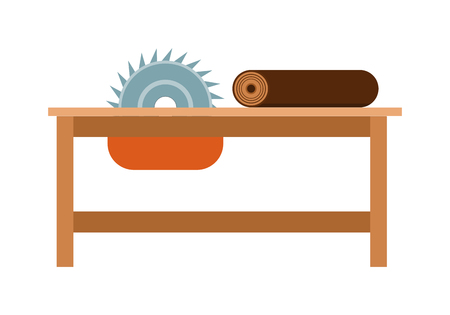 steel industry: Power-saw bench icon industry tool equipment work steel construction vector illustration. Industry power-saw bench and steel power-saw bench. Circular table construction power-saw bench.