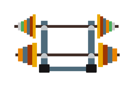 heavy weight: Heavy workout bodybuilding dumbbell weight and lifting dumbbell weight. Power iron dumbbell weight gym fitness equipment. Physical training gym. Dumbbell exercise weights gym fitness equipment vector.