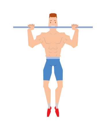 calisthenics: Street workout sport, exercising, training and lifestyle concept - young man doing abdominal exercise on horizontal bar vector. Handsome muscular young man street workout and athletic street workout.