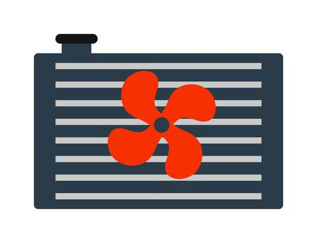 Car radiator heater icon auto parts cooling, engine, metal equipment vector illustration. Automobile grille radiator icon and car radiator icon. Industrial aluminum truck radiator icon.