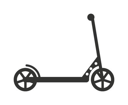 Zwarte push-step leuke activiteit vervoer sport voertuig rit toy vector illustratie. Kick scooter speelgoed en step silhouet. Silhouette step handvat transport push scooter. Stock Illustratie