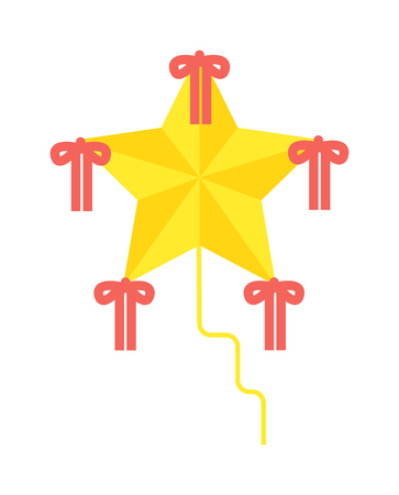 flying kite: Summer star kite and flying kite. Childhood playing freedom game kite and colorful fish kite hobby toy. Small flying rainbow colorful fish kite fun wind flying summer toy flat vector illustration. Illustration