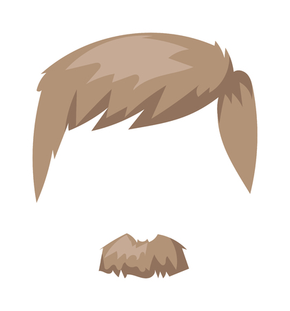 hair mask: Hairstyles blond beard and hair face cut mask flat cartoon collection. Vector mail beard hair illustration. Flat hair and beards fashion style. Hairstyle set, haircut icons. Mans face beard mustache