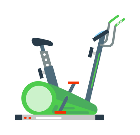 exercise machine: Stationary training exercise sport bike healthy lifestyle equipment and exercise bike sport. Exercise bike training workout machine. Stationary exercise bike sport gym machine health activity vector.