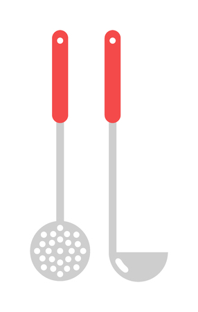 masher: Set of kitchen metal ladle and cooking kitchen ladle. Kitchenware utensil cooking tool domestic steel stainless kitchen ladle equipment. Kitchen ladle cooking equipment flat vector illustration. Illustration