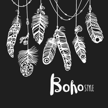 Boho de la pluma de aves de fondo patrón abstracto y la decoración hermosa boho fondo de la pluma. negro blanco ornamento boho suave y natural de la vendimia. sin patrón, con plumas de fondo decorativo
