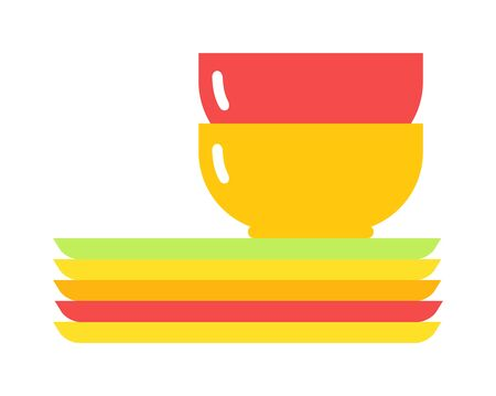 mug shot: Yellow soup cup. Yellow single cup breakfast food and ceramic red and flat soup cup. Yellow cup food beverage kitchen accessory flat vector. Yellow soup cup plate Illustration